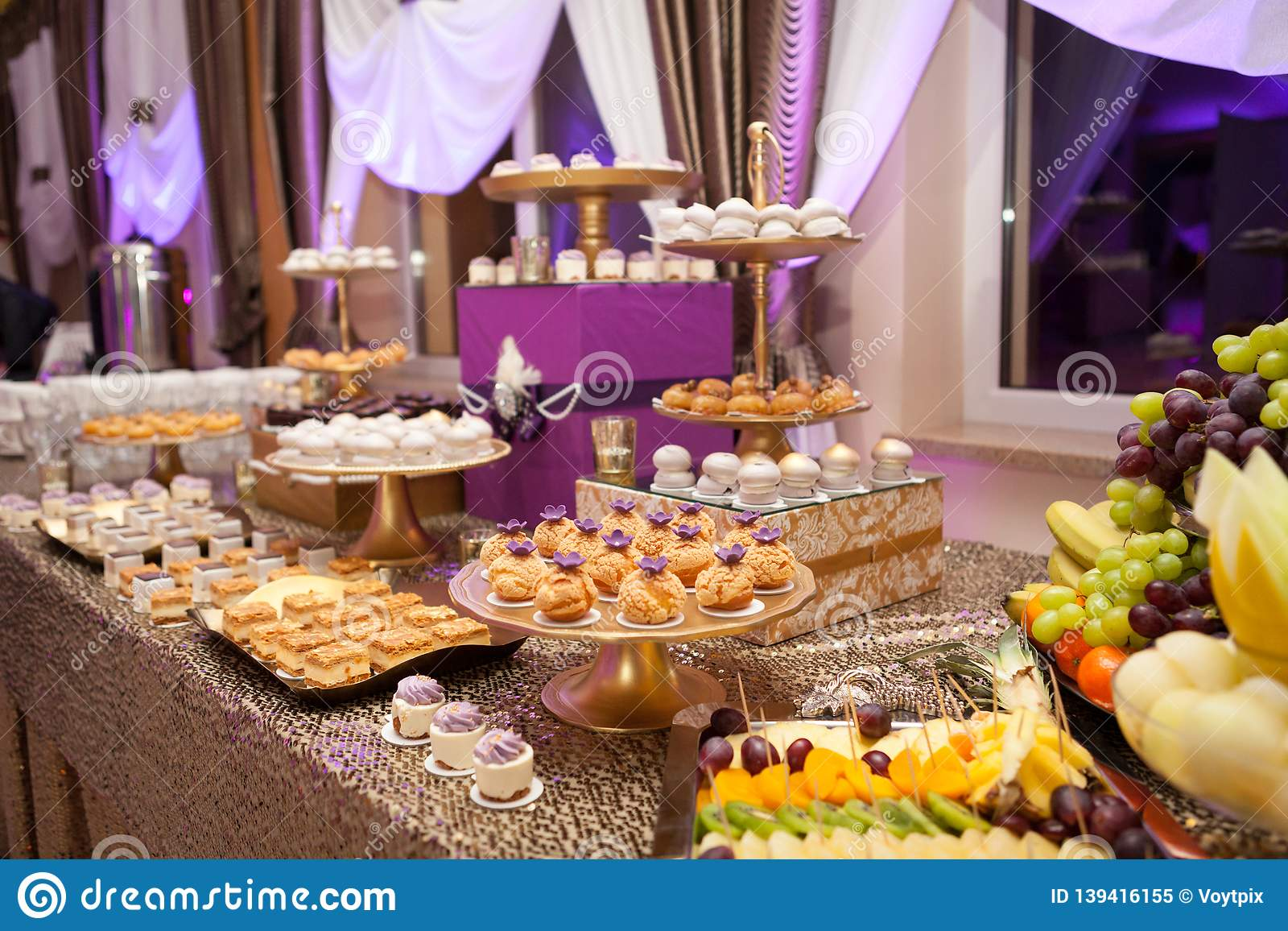 Christmas Birthday Party.Banquet Table With Different Food Snacks Appetizers And