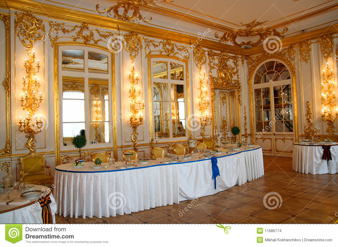 Banquet Table In Dining Hall Editorial Stock Image Image