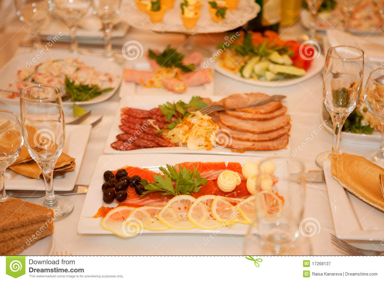 Banquet table with food stock image. Image of meal, celebration ...