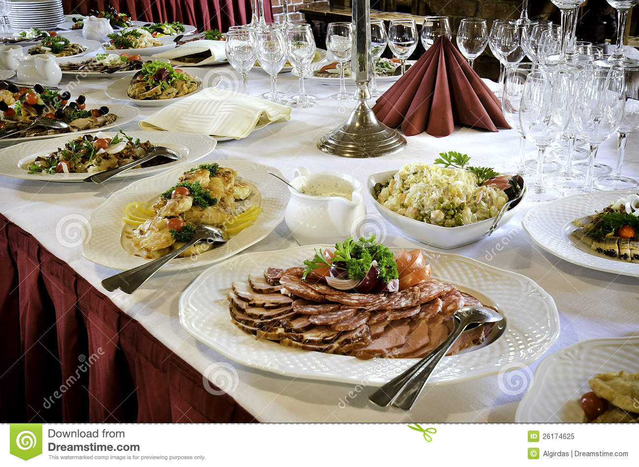 banquet table food stock image image of cold full cuts 26174625. Black Bedroom Furniture Sets. Home Design Ideas