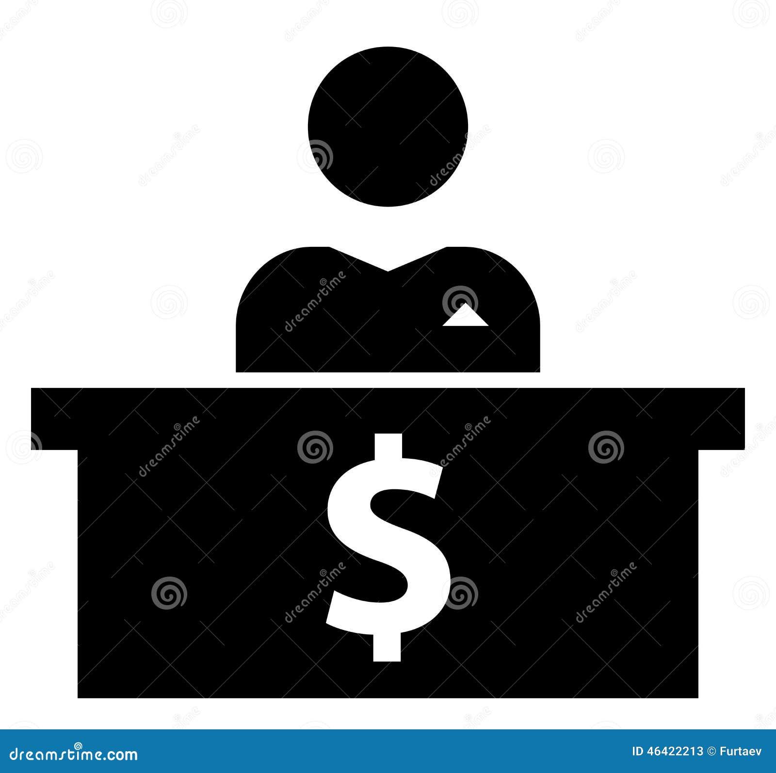 Banquier à l icône de lieu de travail