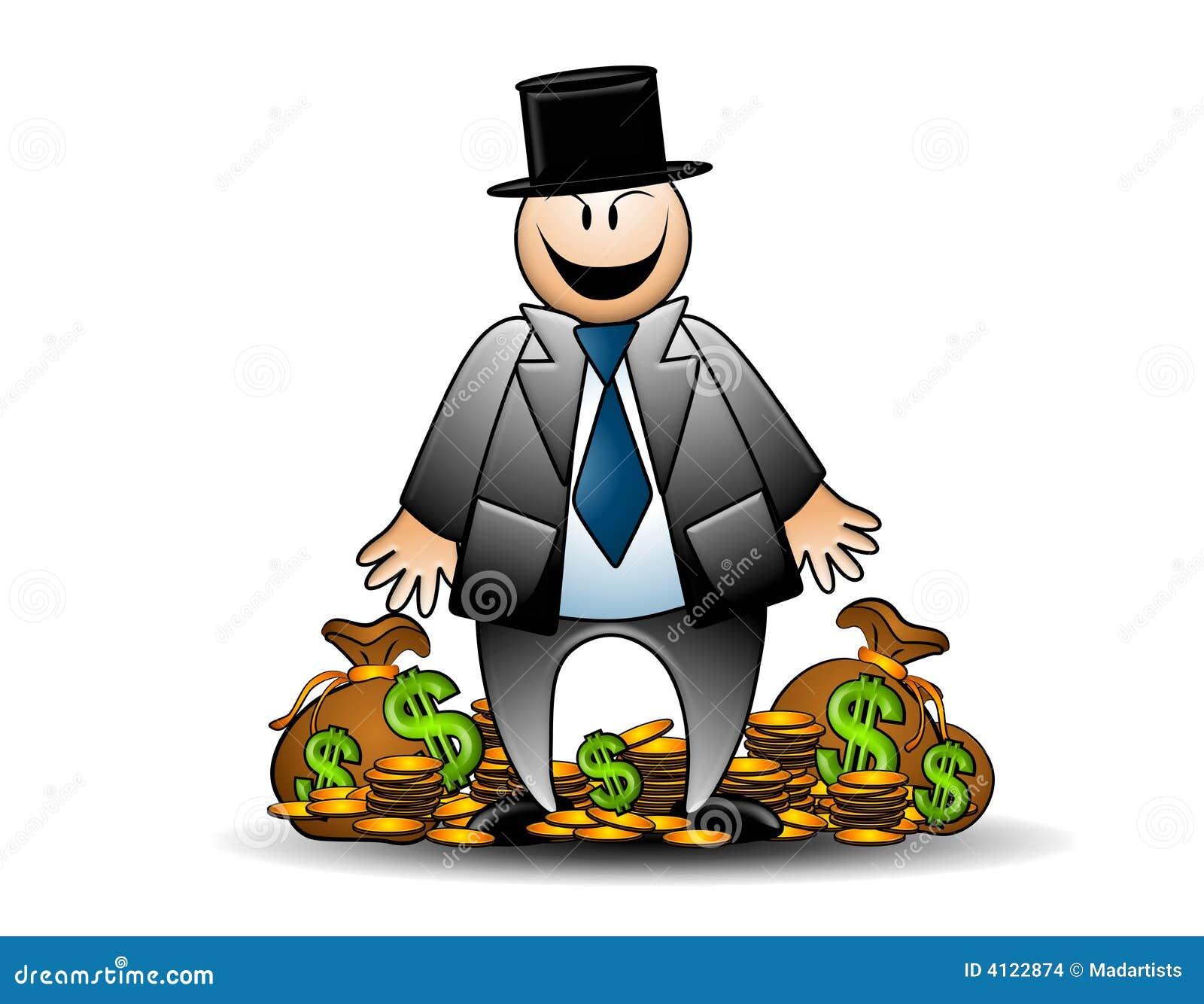 Banquier avide avec la grimacerie d argent
