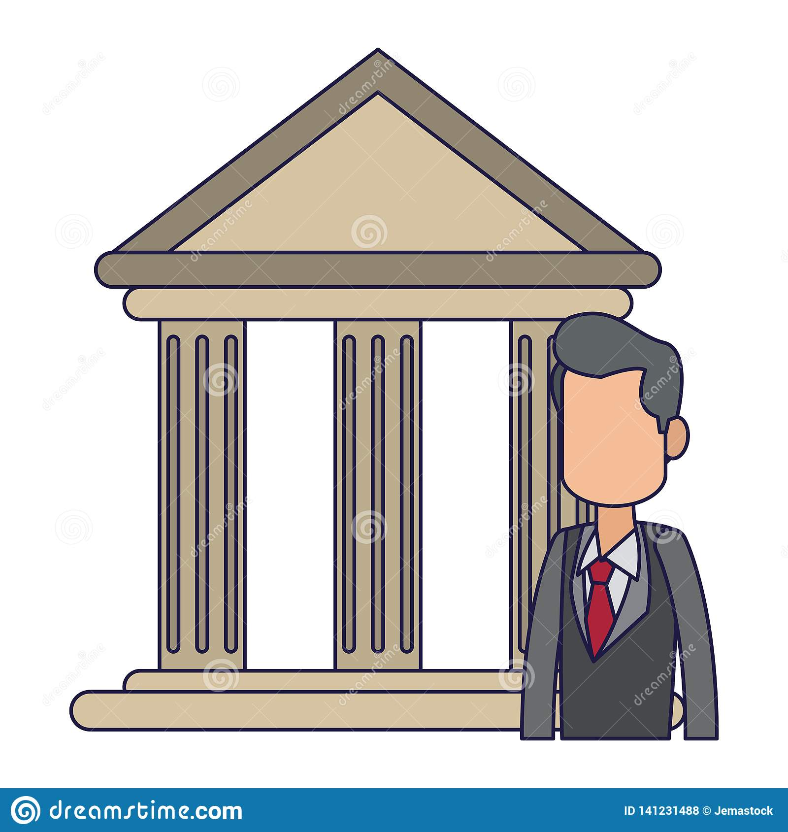 Banquier d homme d affaires dans les lignes bleues d avatar d édifice bancaire