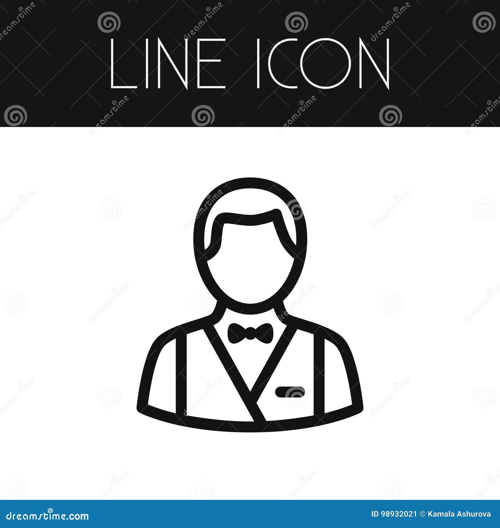 Banquier d isolement Outline L élément de vecteur de croupier peut être employé pour le croupier, banquier, concept de constructi
