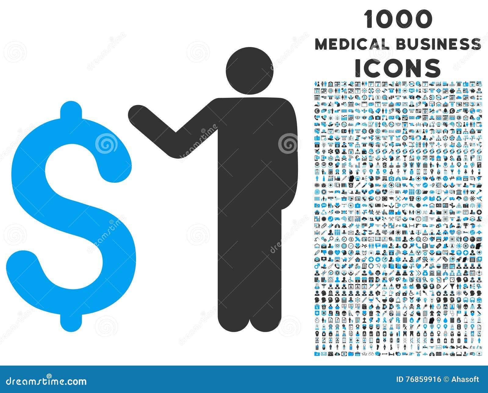 Banquier Icon avec 1000 icônes médicales d affaires