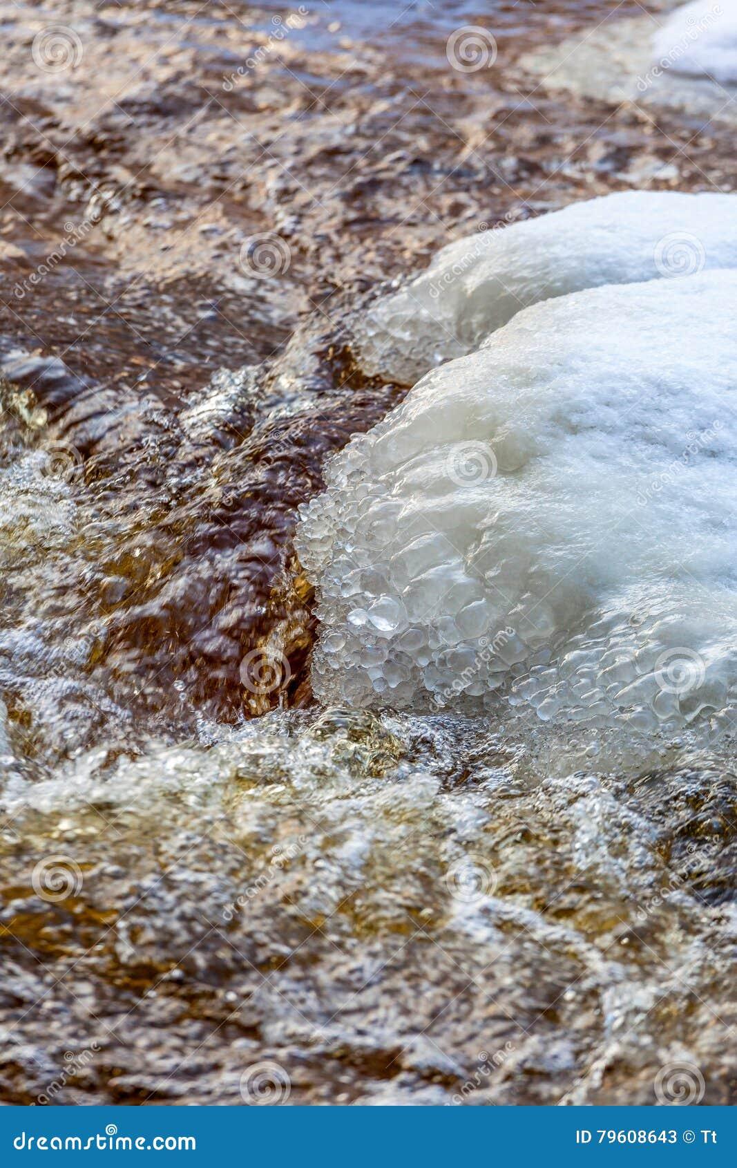 Banquisas de gelo em um córrego