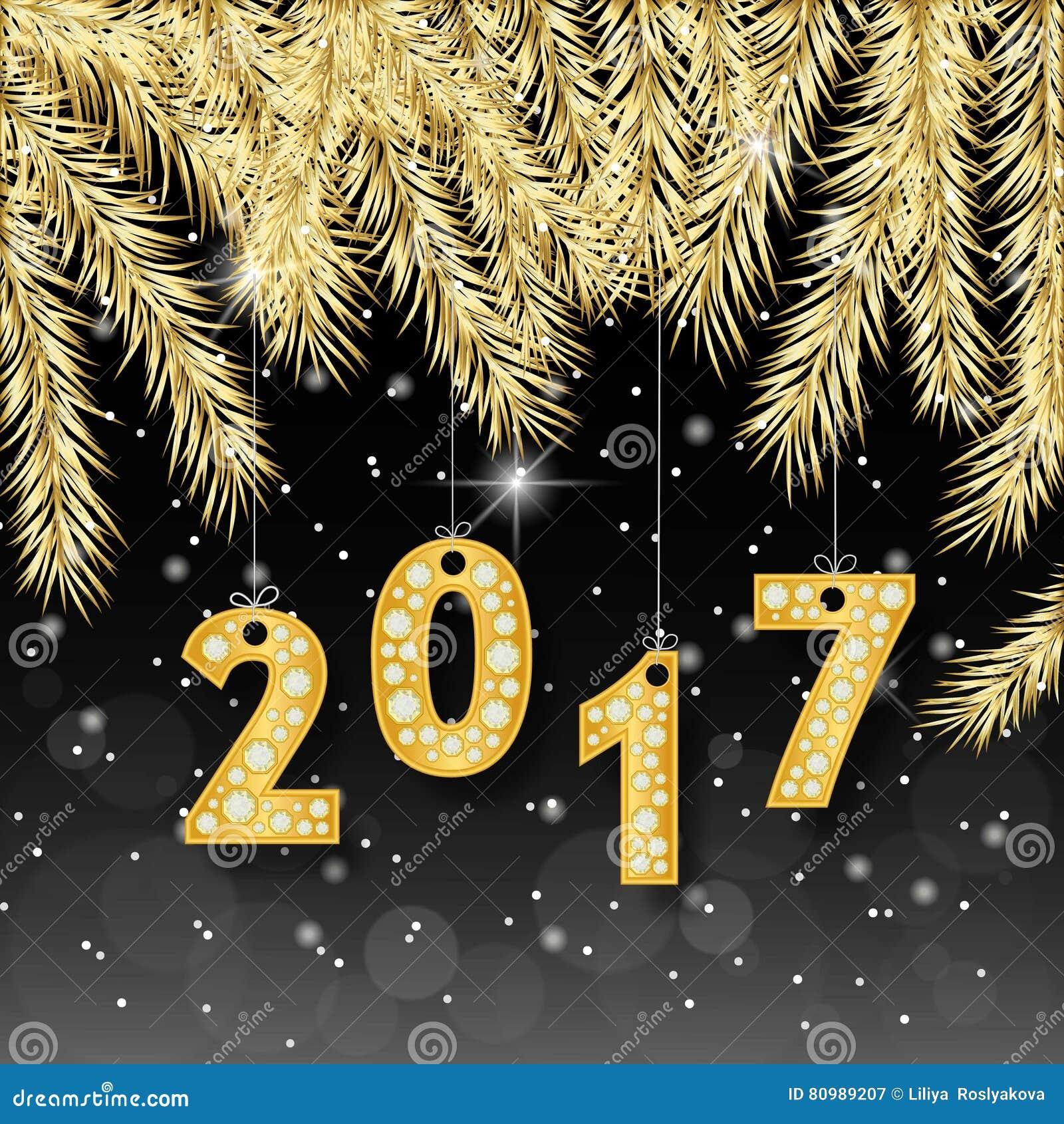 Banret 2017 för det lyckliga nya året med det guld- gran-trädet förgrena sig Rich, storgubbe, lyxig guld och svartfärger också ve