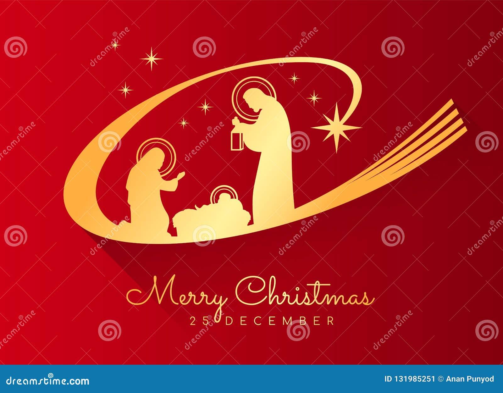 Banret för glad jul med guld- Nightly jullandskap mary och joseph i en krubba med behandla som ett barn Jesus på röd bakgrund