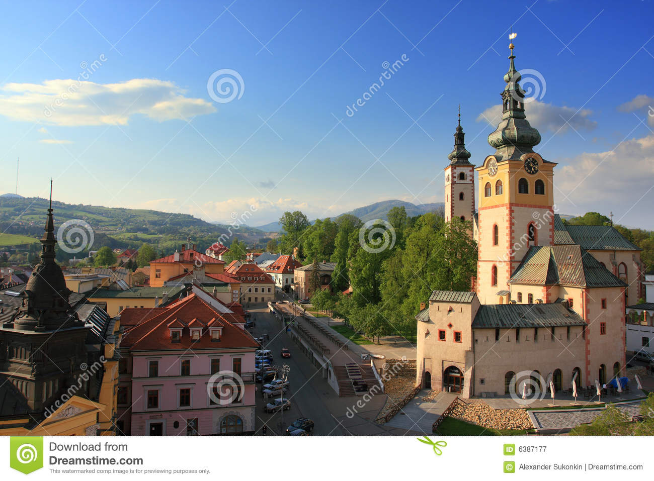 Banska Bystrica, Slovakia view from leaning tower