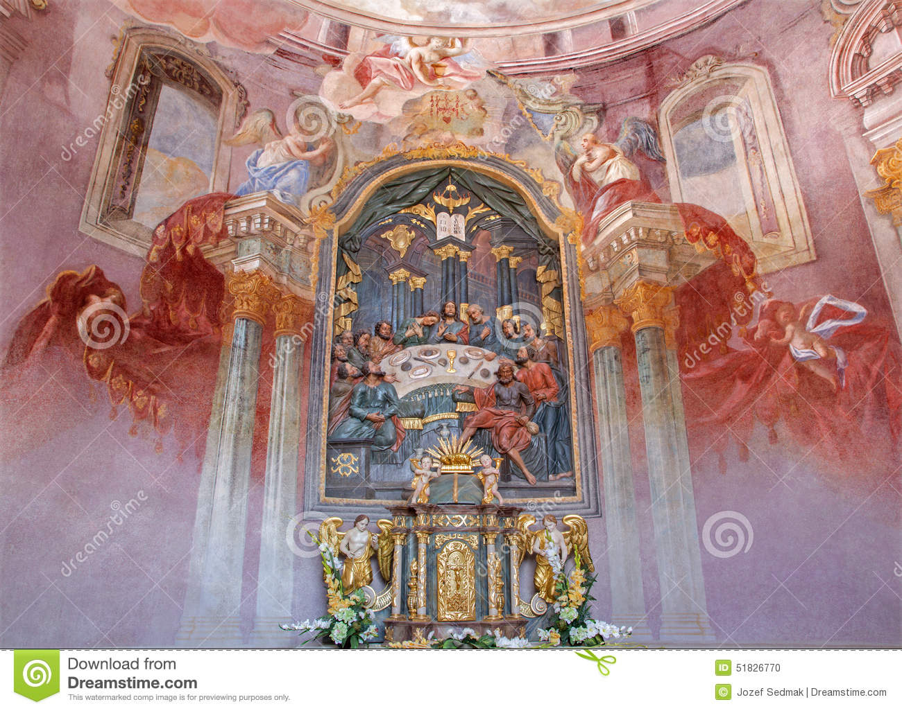 Banska Stiavnica - fresco and altar in the lower church of baroque calvary by Anton Schmidt from years 1745