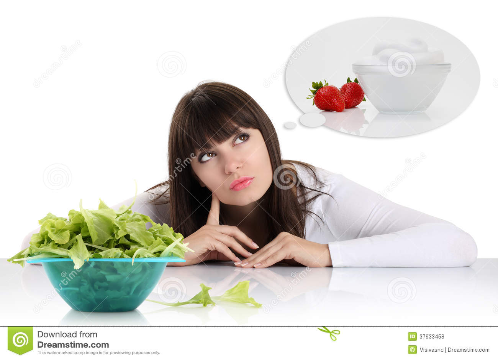 Banta, den unga kvinnan som väljer mellan frukter, och sötsaker. väga los