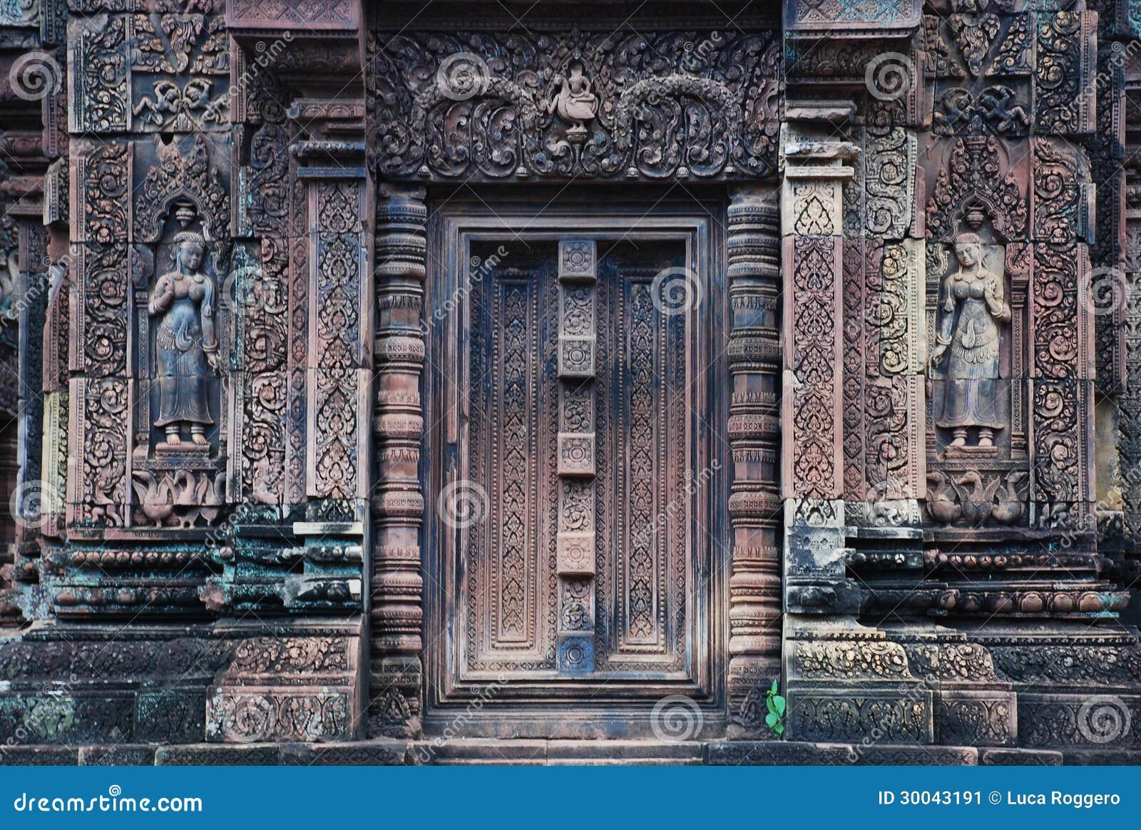 Decorações de Banteai Srei, Angkor, Cambodia