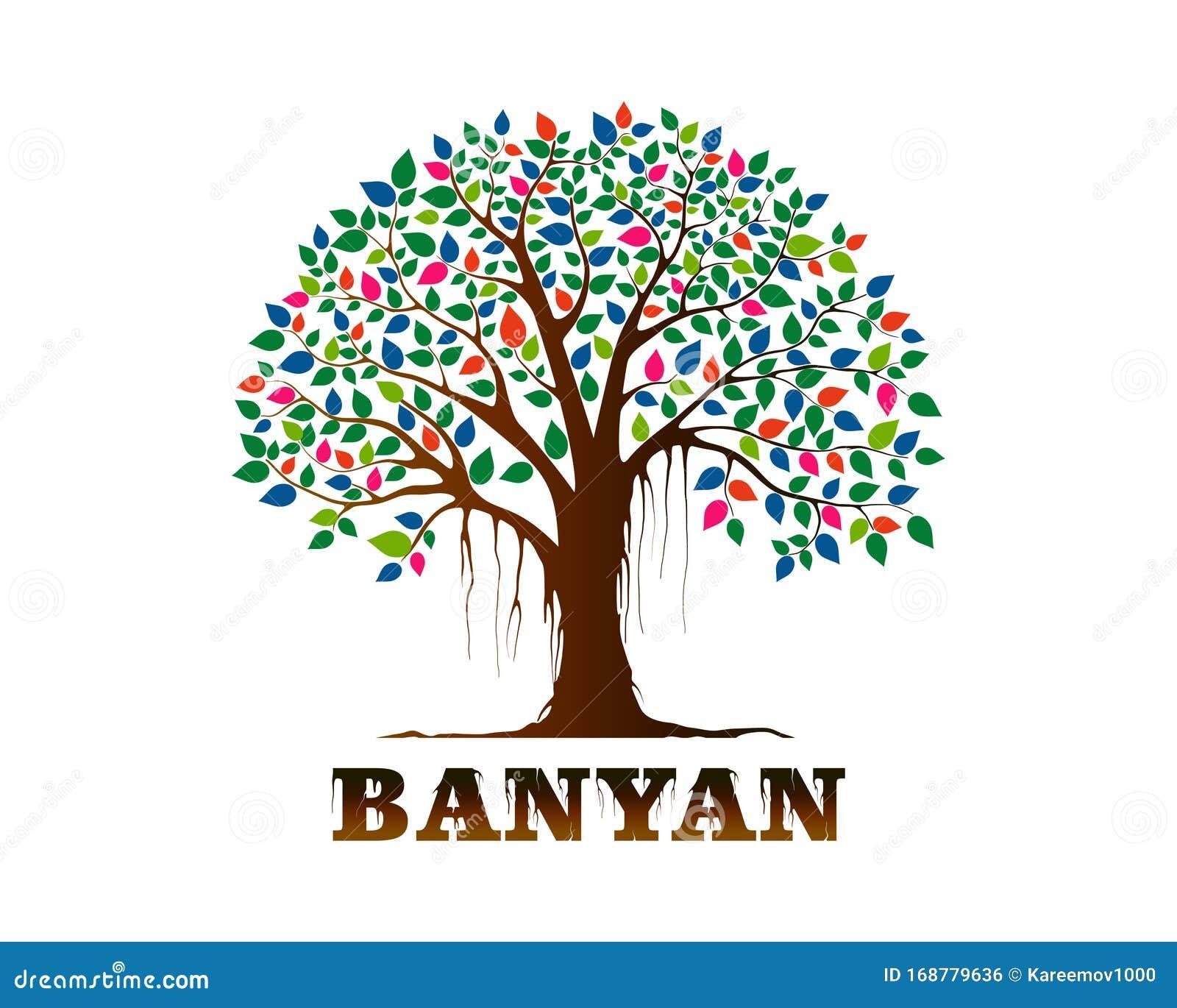 Banyan Tree Logo Vector Illustration Stock Vector Illustration Of Abstract Forest 168779636