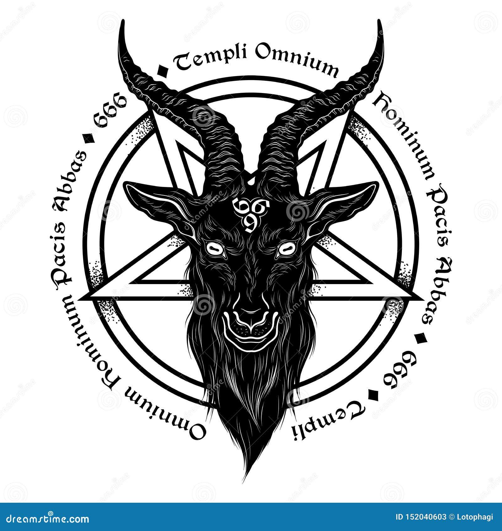Baphomet Demon Goat Head Hand Drawn Print Or Blackwork Flash Tattoo Art Design Vector Illustration Latin Inscription Translation Stock Vector Illustration Of Esoteric Metal 152040603