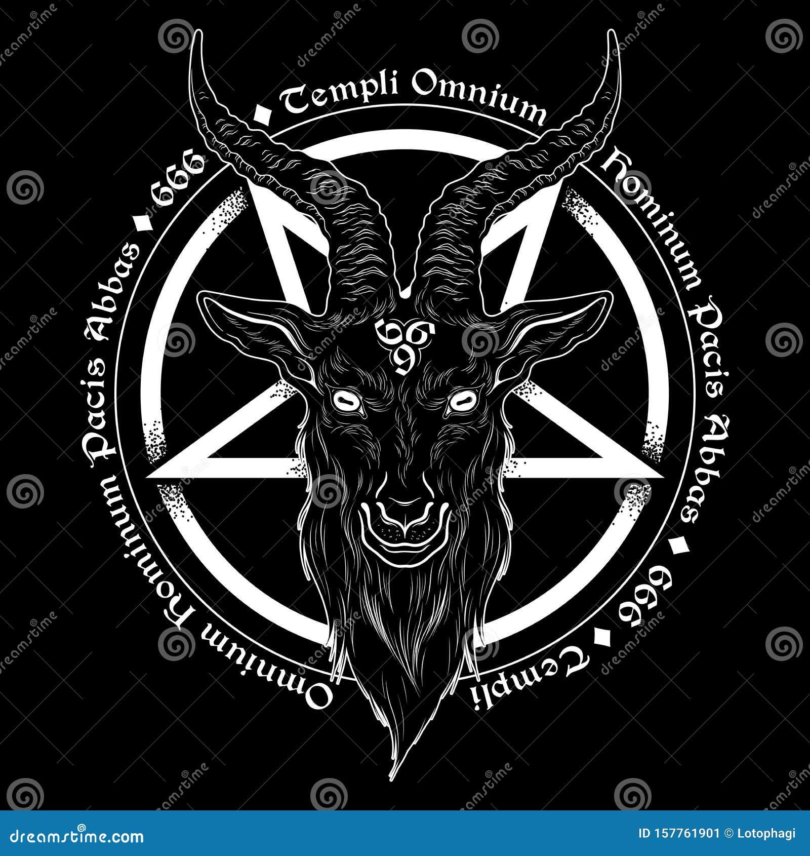 Baphomet Demon Goat Head Hand Drawn Print Or Blackwork Flash Tattoo Art Design Vector Illustration Latin Inscription Translation Stock Vector Illustration Of Head Black 157761901