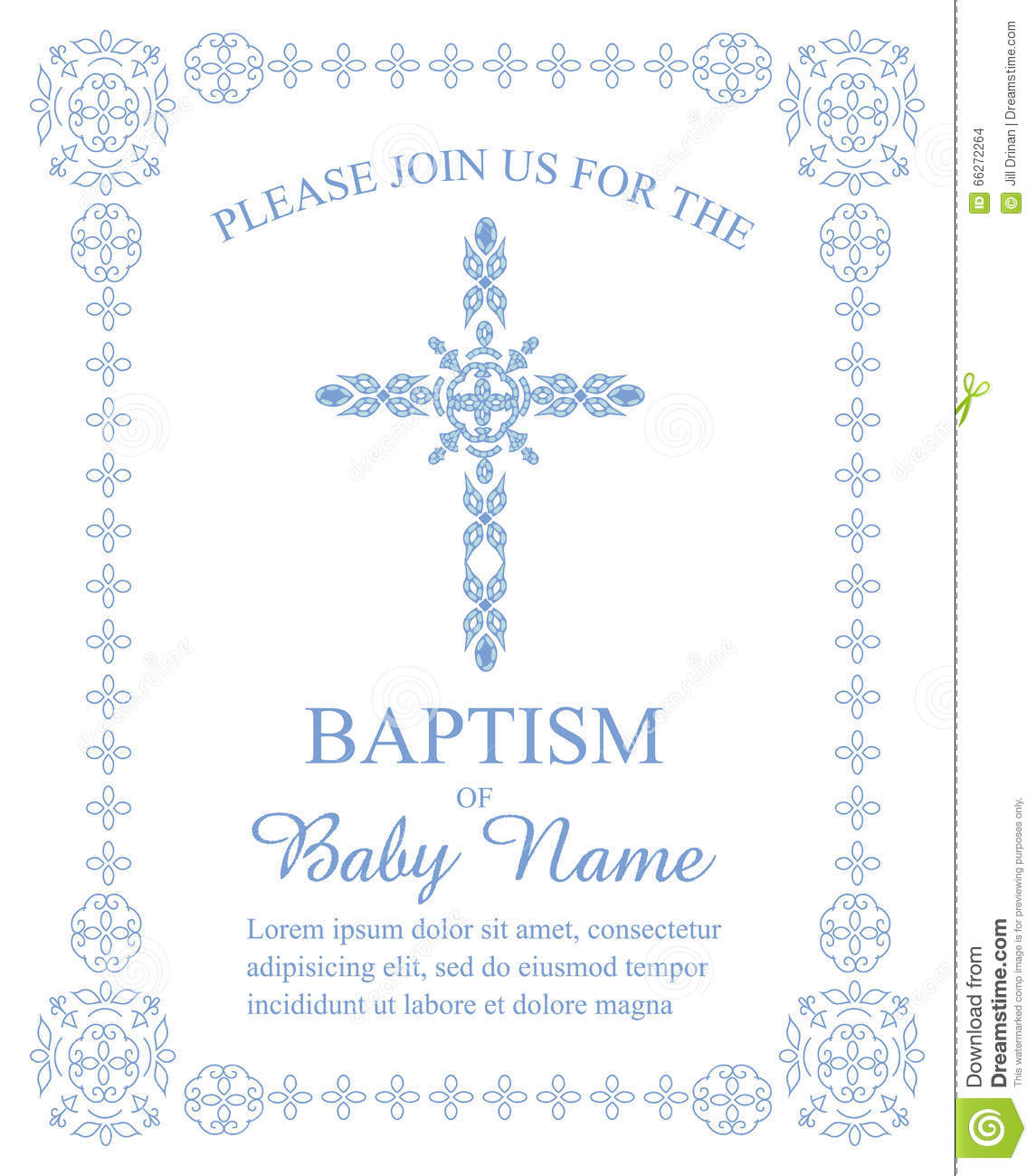 photo about Religious Cross Template Printable known as Baptism, Christening, Initial Communion, Affirmation