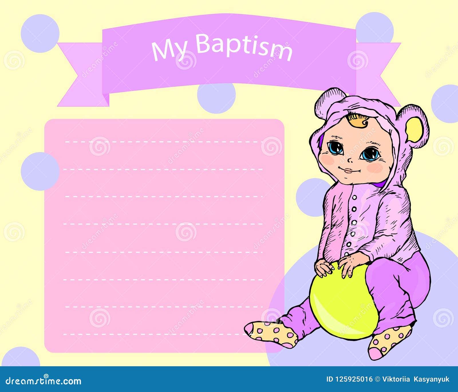 Baptism Christening Invitation Card Stock Vector