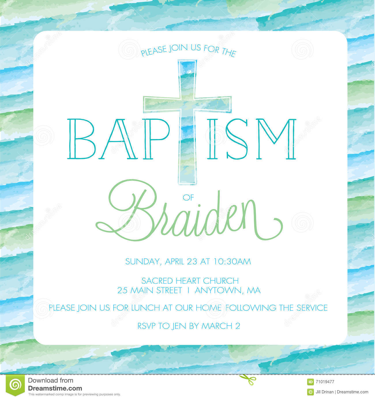 Baptism, Christening Invitation Template - Watercolor Cross, Background  Stock Vector - Illustration of watercolor, vector: 71019477