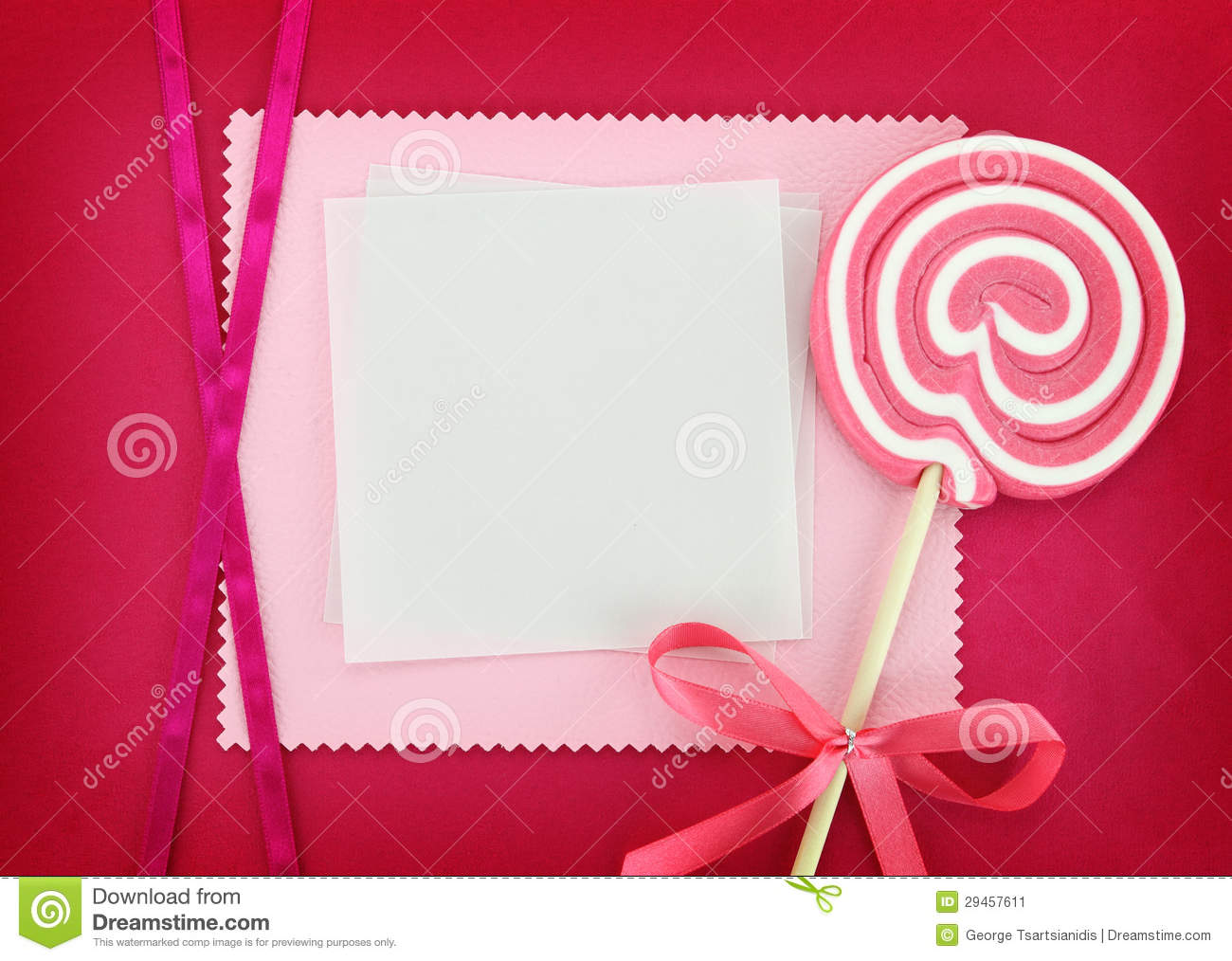 Baptism Invitation Card In Pink Stock Image - Image: 29457611