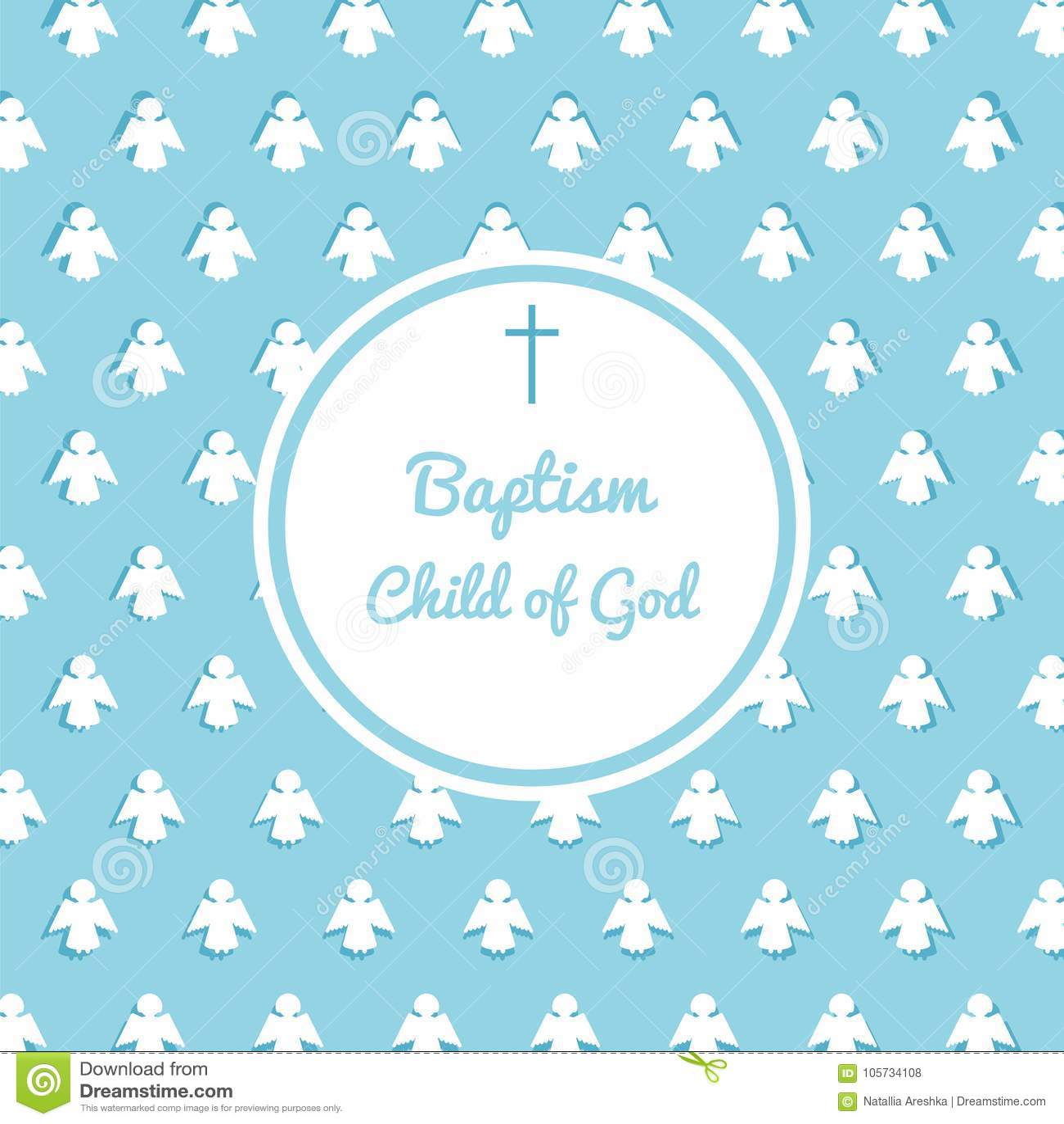 Baptism Invitation Template Stock Vector Illustration Of
