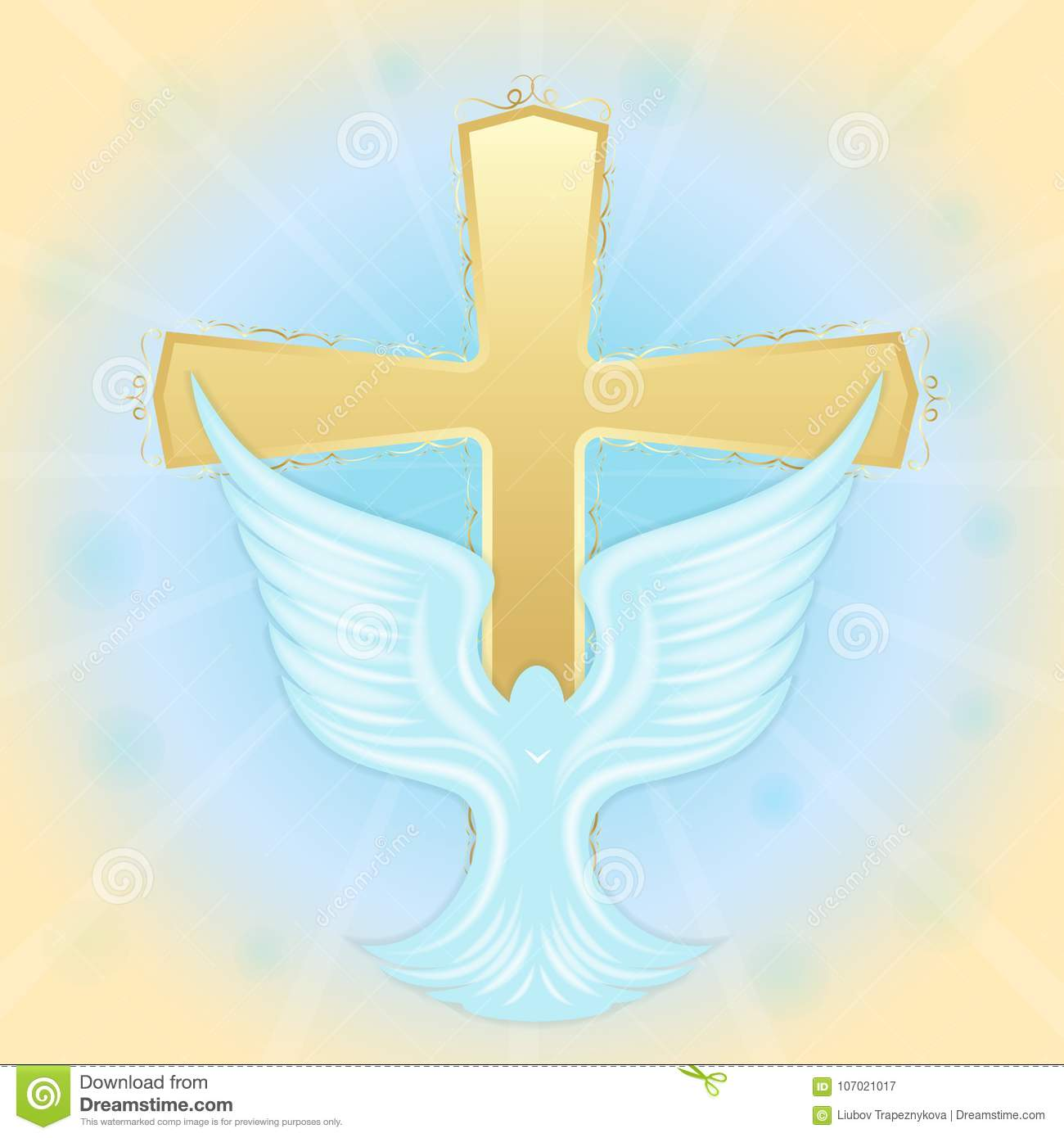 Baptism Of Jesus Dove In The Sky Against The Background Of The