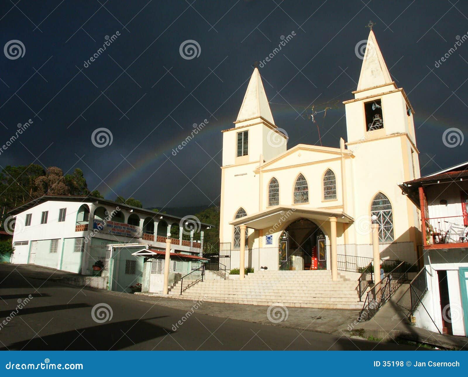 Baptist church with rainbow
