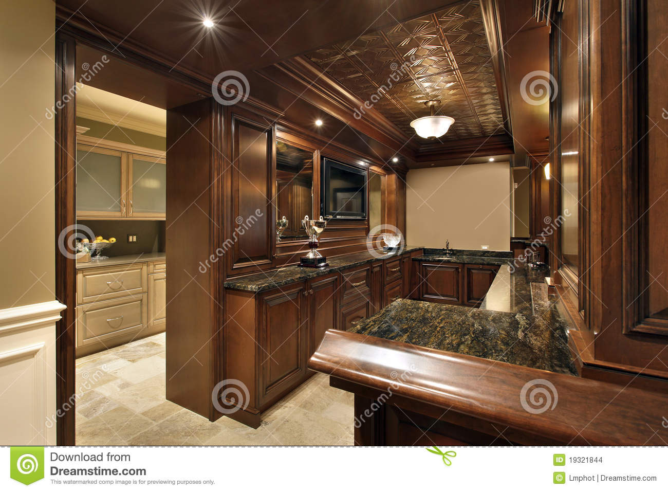 Bar In Basement Of Luxury Home Stock Photo Image Of