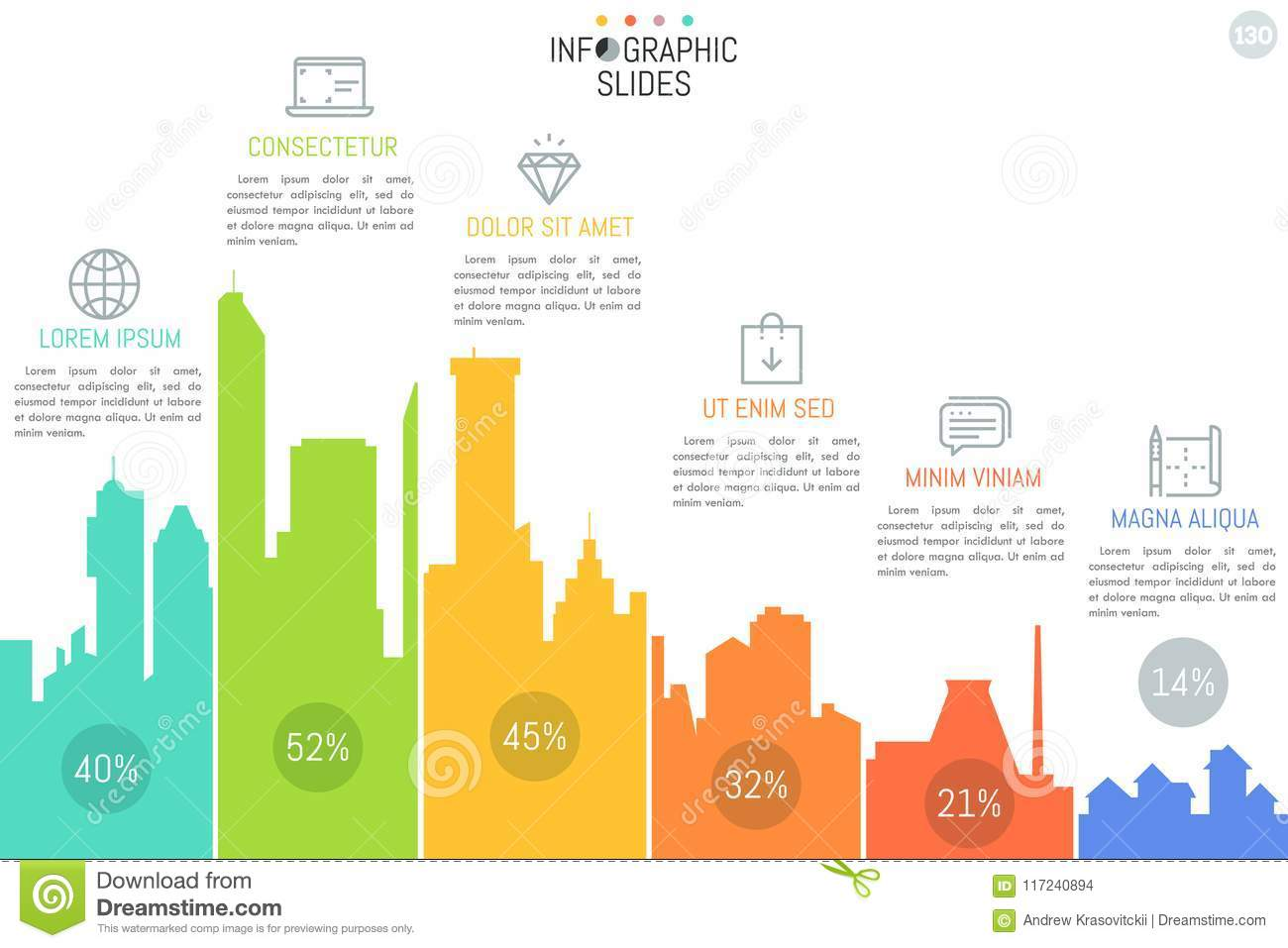Bar Chart With Columns In Shape Of Buildings Simple Infographic
