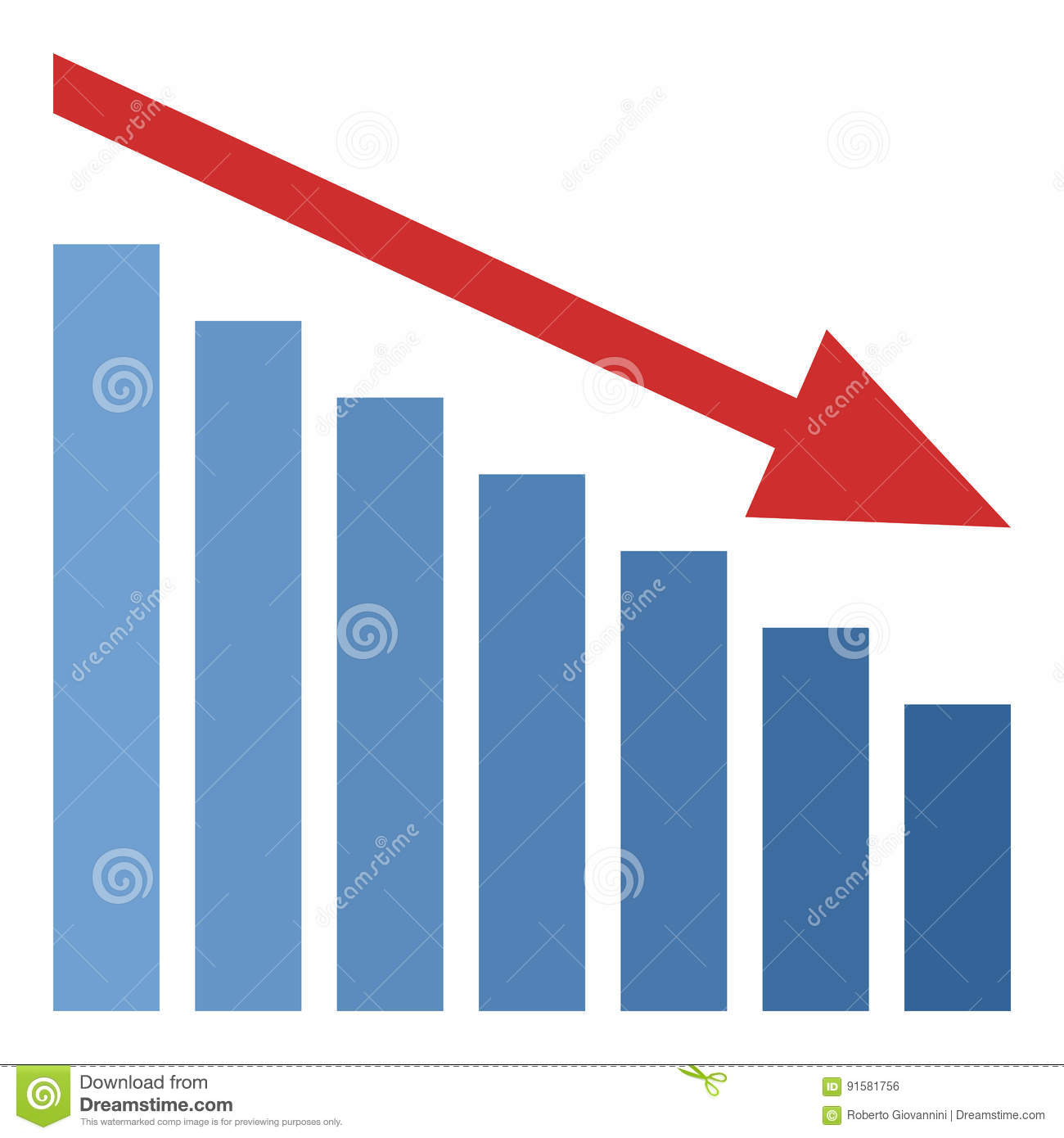bar chart down red arrow flat icon isolated stock vector