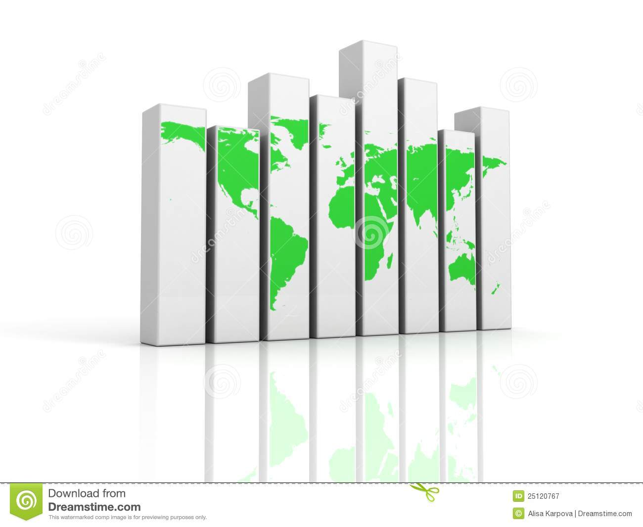 Bar chart graph with green world map stock illustration bar chart graph with green world map gumiabroncs Images