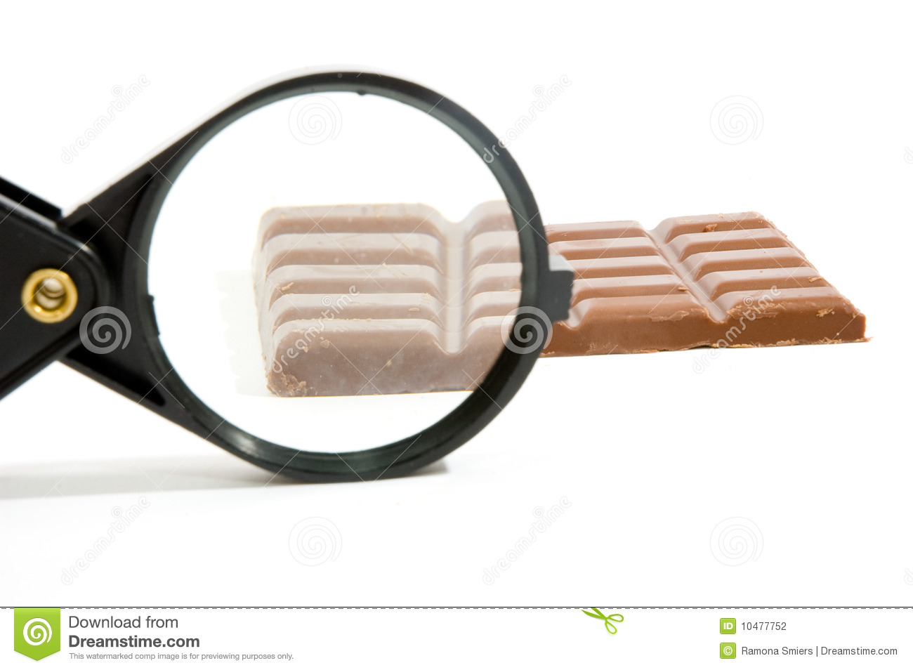 Bar Of Chocolat Sized Up By A Magnifying-glass Stock