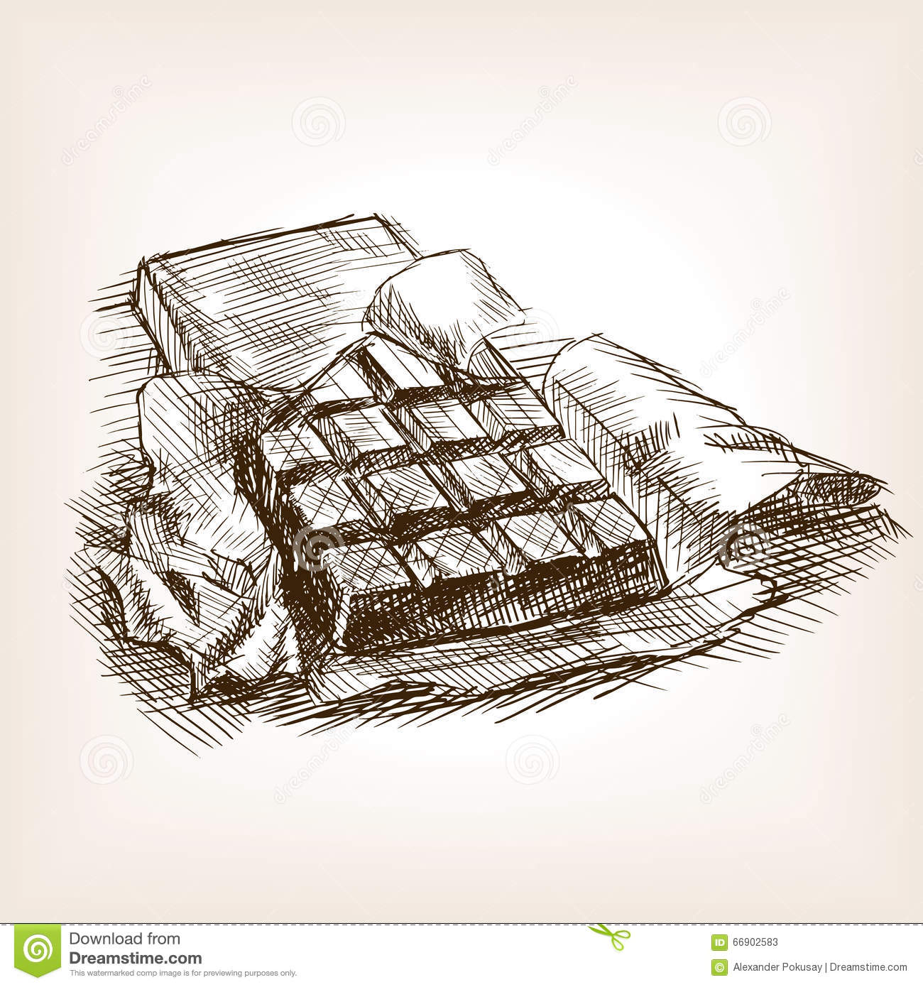 Bar Of Chocolate Hand Drawn Sketch Style Vector Stock Vector - Illustration Of Dessert Candy ...