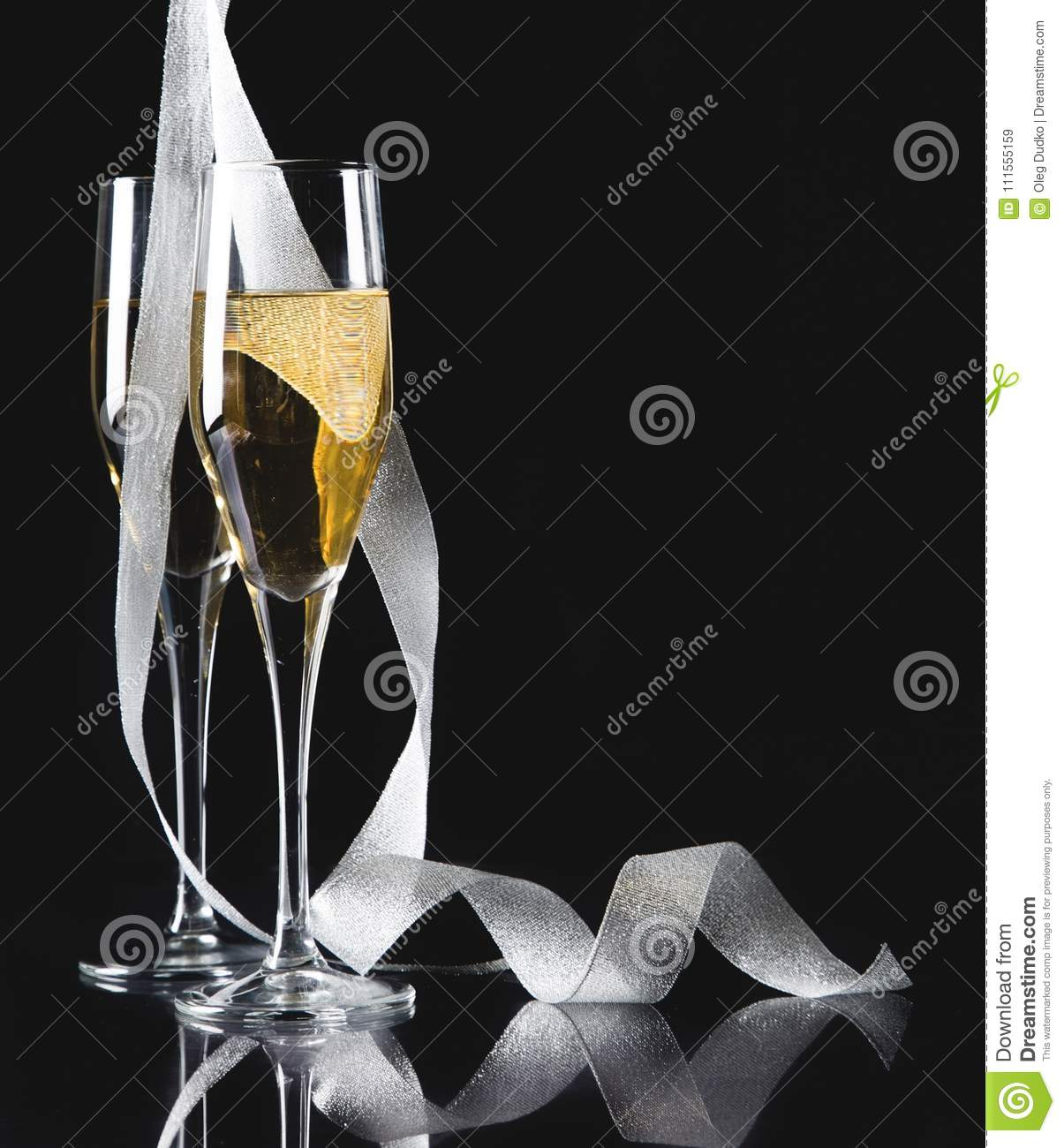 Flute glasses of champagne on background