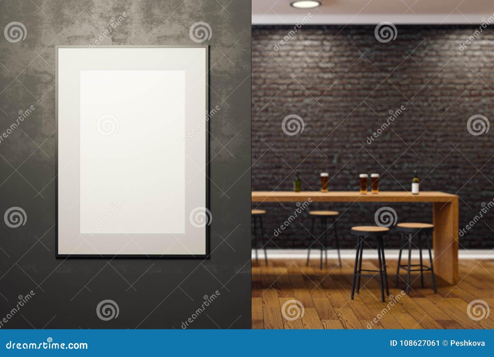 Bar Contemporain Avec L\'affiche Vide Illustration Stock ...