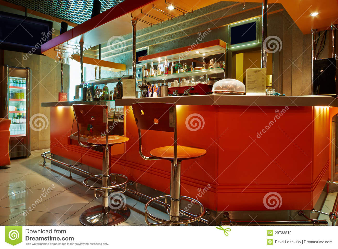 interior of empty cafe-bar stock photography - image: 29733812