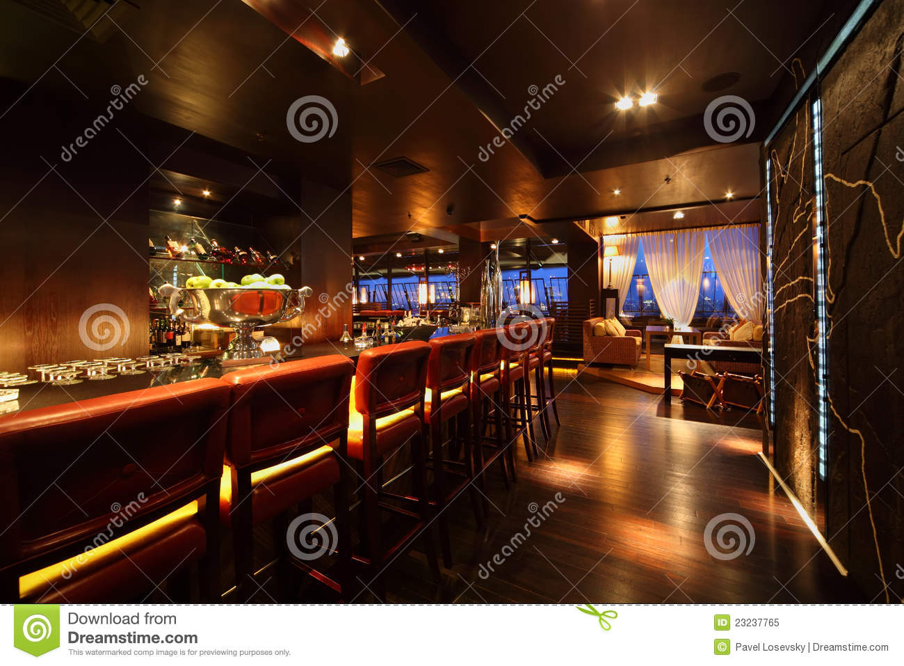 Bar Counter With Chairs In Empty Restaurant Royalty Free