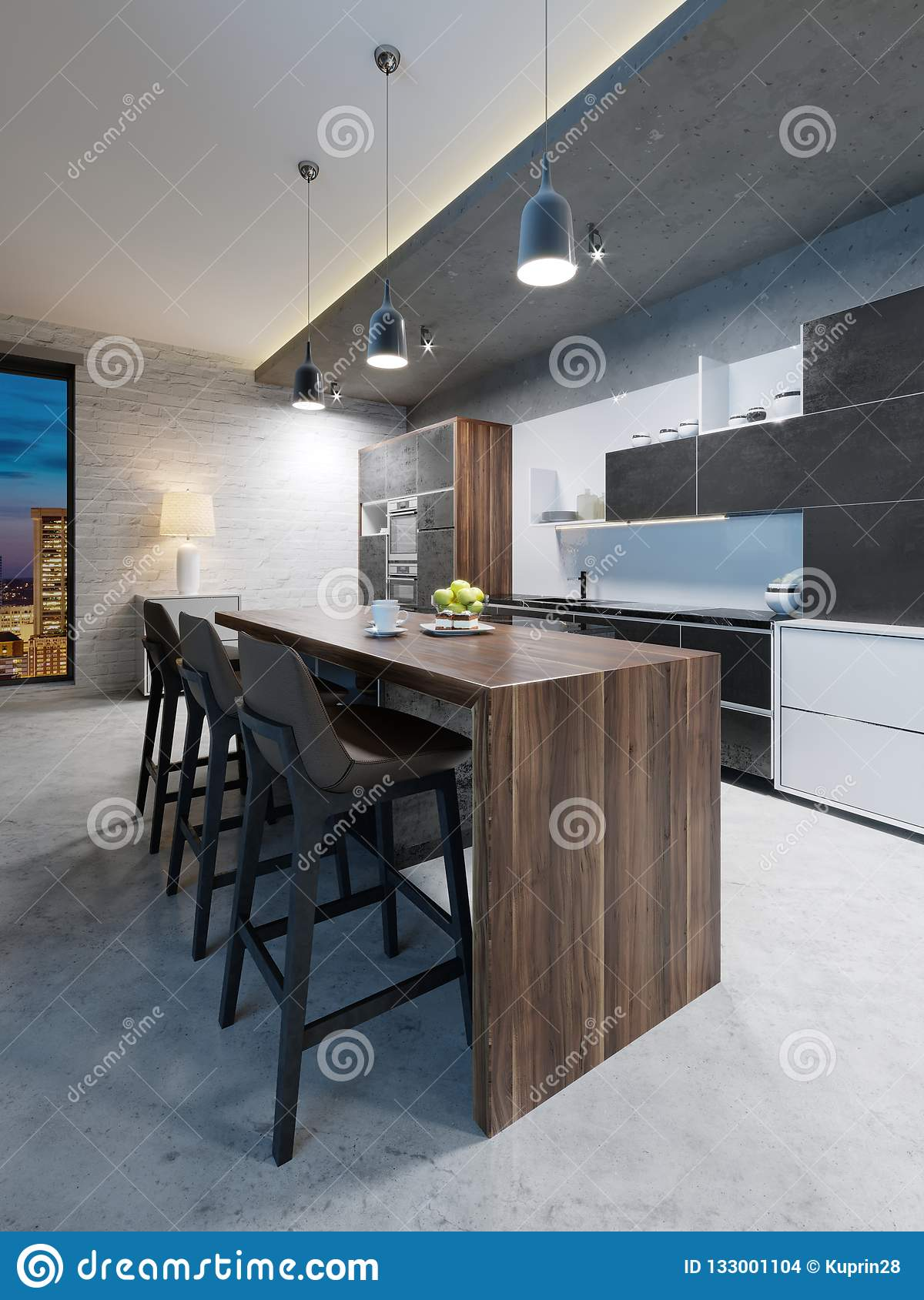 Picture of: Bar Counter With Chairs And A Kitchen Island In A Modern Kitchen Evening Lighting Stock Illustration Illustration Of Appliances Decorative 133001104
