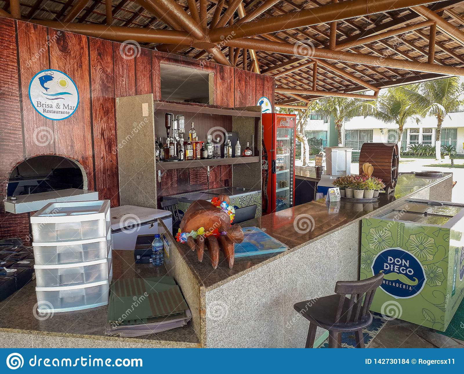 Bar counter and desk on Flat Resort, Porto de Galinhas, Brazil
