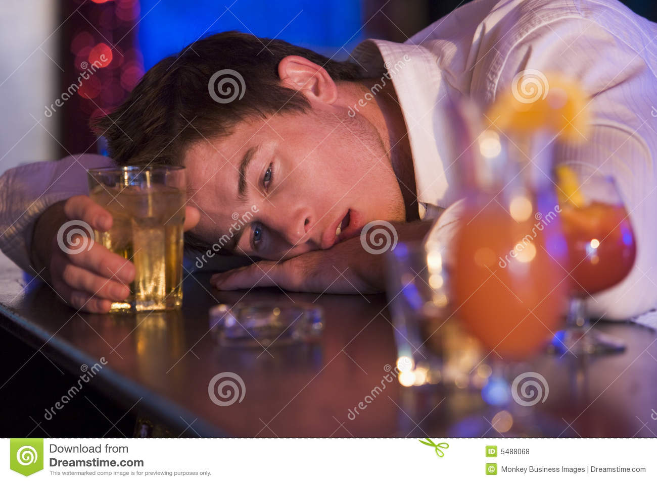 Bar counter drunk head man resting young