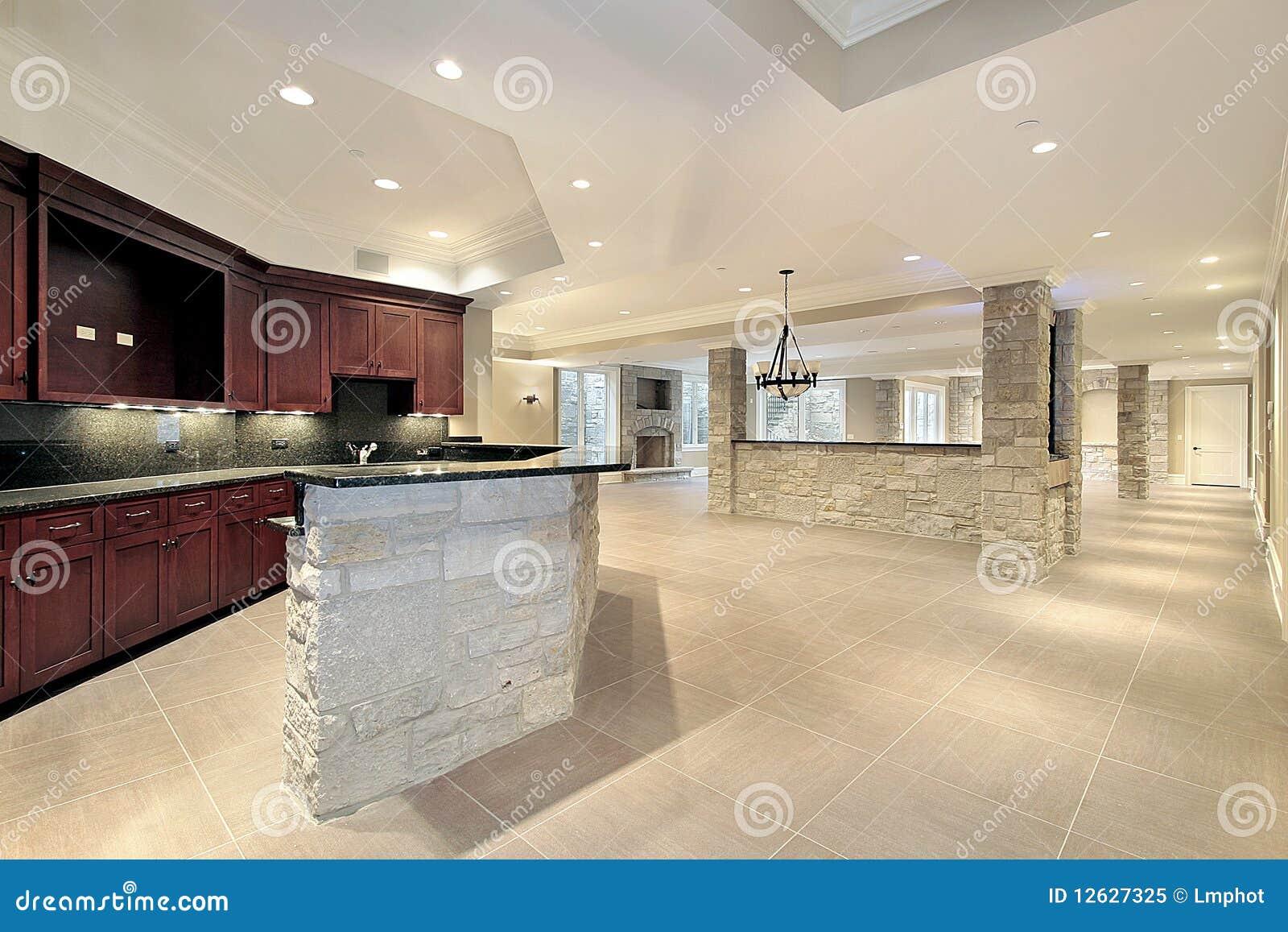 bar et cuisine en pierre en sous sol image stock image. Black Bedroom Furniture Sets. Home Design Ideas