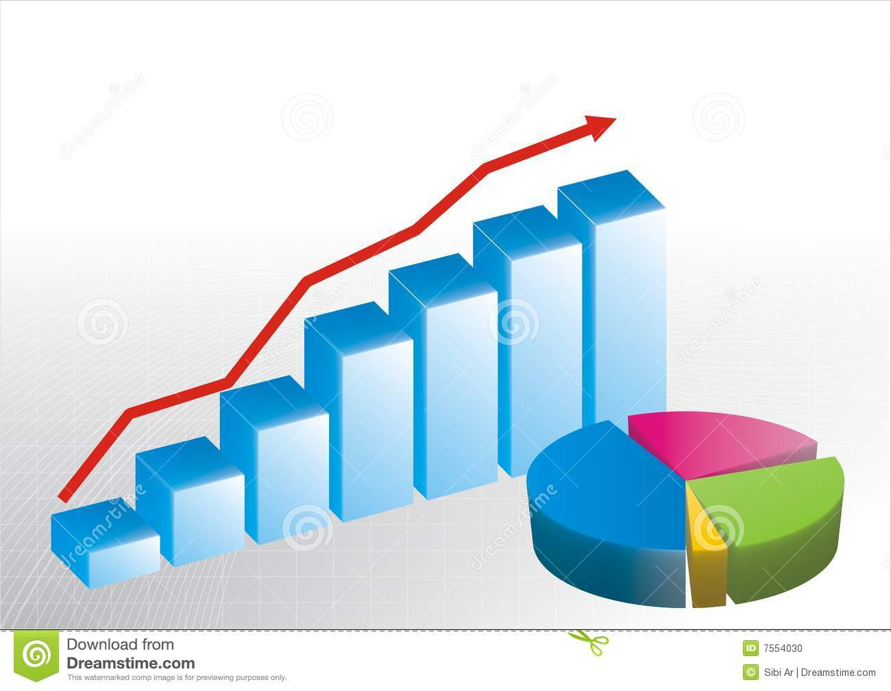 Bar Graph And Pie Chart Stock Vector Illustration Of Generated