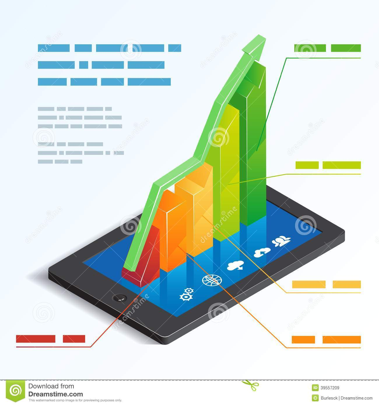 Colorful ascending 3d bar graph on a tablet touchscreen depicting ...
