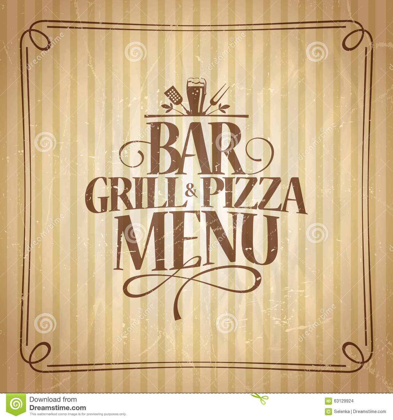 bar grill and pizza menu stock vector illustration of paper 63129924