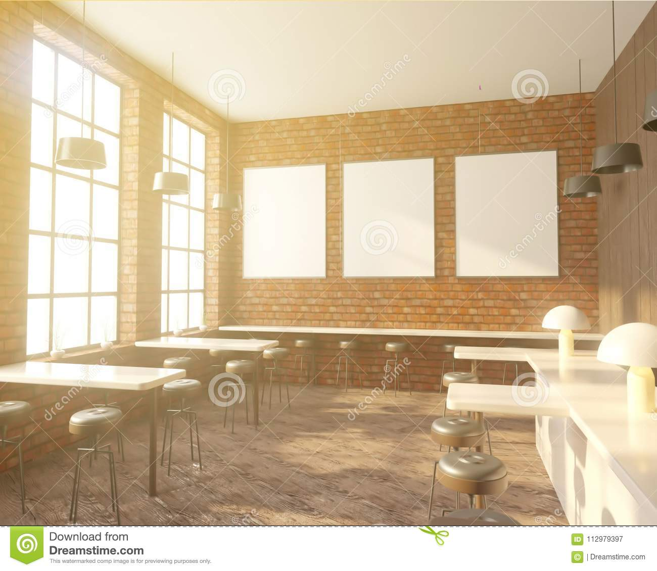 Bar interior with a row of tables near the windows, wooden floor. 3d rendering. Mock up.