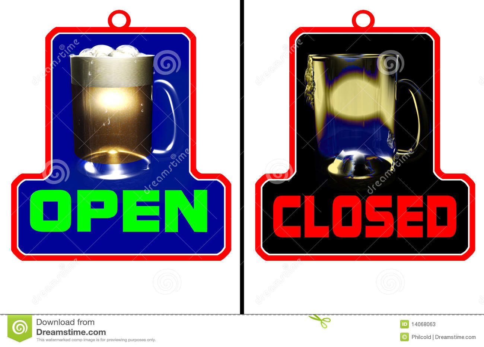 Bar Open Bar Closed Stock Photos - Image: 14068063
