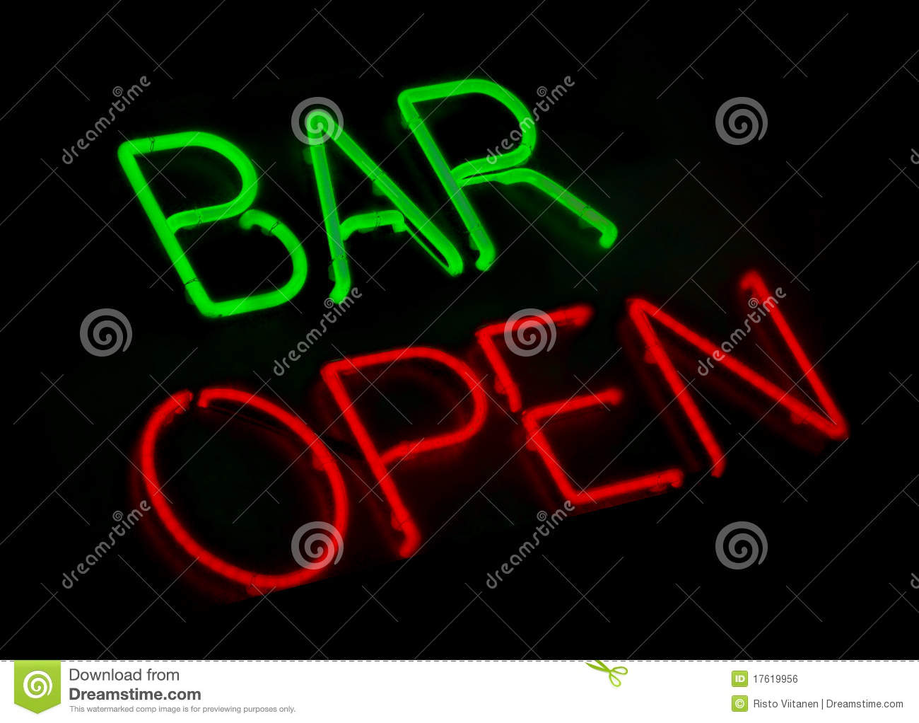 Bar open neon sign stock photo. Image of advertise, closed