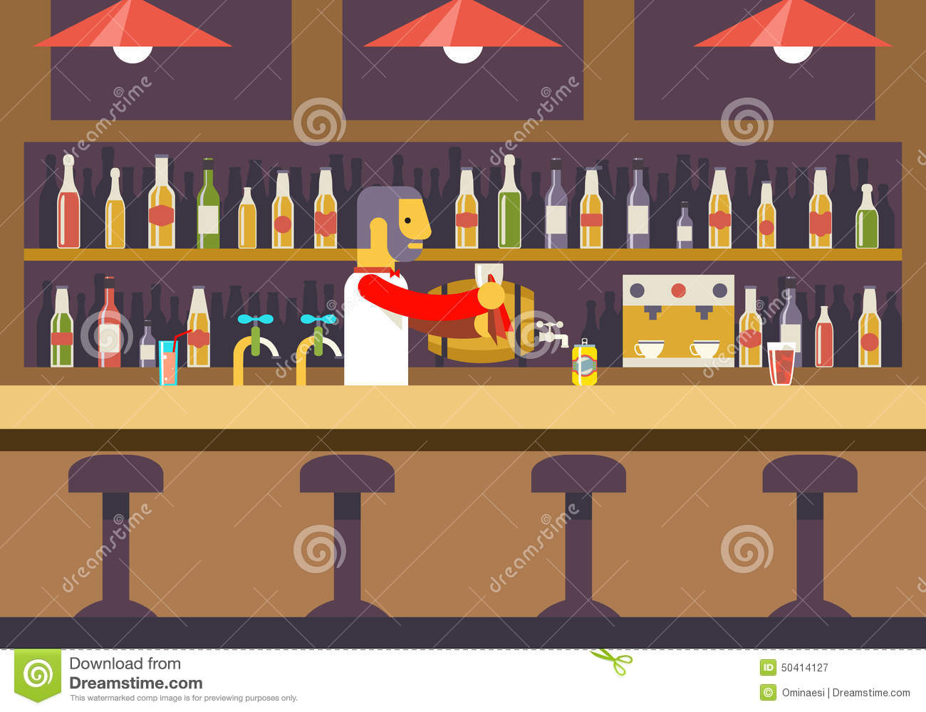 Bar restaurant cafe with barkeeper character stock vector