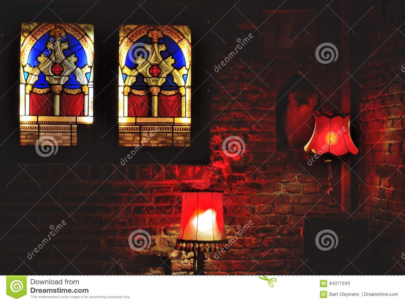 Bar scene, lustres in red and glass stained window