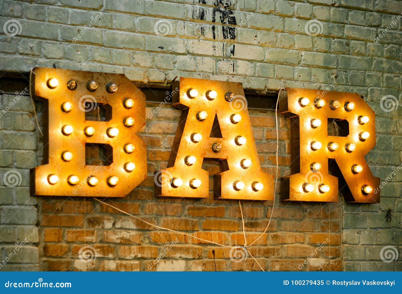 Bar signboard. stock image. Image of lamp, arrow, electric - 100279435