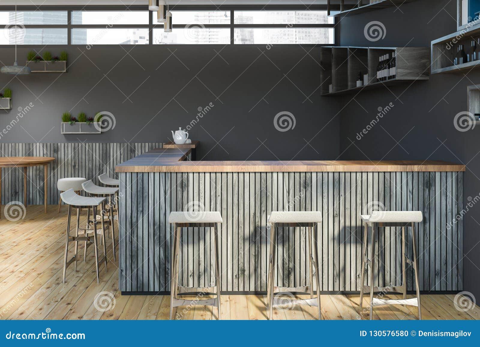 Stupendous Bar With Stools In Gray Cafe Stock Illustration Creativecarmelina Interior Chair Design Creativecarmelinacom